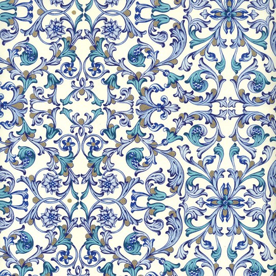 Blue Tiled Floral Florentine Print Paper ~ Rossi Italy ~ 2015