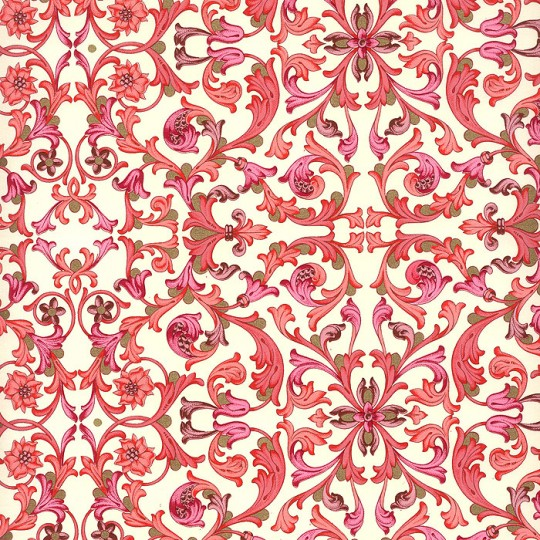 Red Tiled Floral Florentine Print Paper ~ Rossi Italy ~ 2015