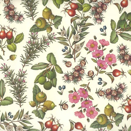 Mediterranean Flowers Floral Print Paper ~ Rossi Italy