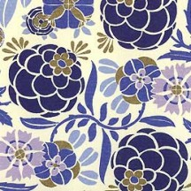 Blue Tones Stylized Floral Print Paper ~ Rossi Italy