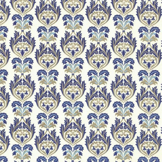 Blue and Gold Flourish Leaf Print Paper ~ Rossi Italy