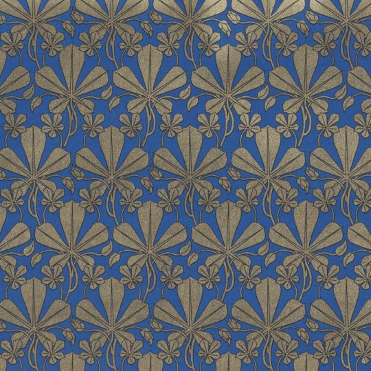 Blue and Golden Art Nouveau Leaves Italian Print Paper ~ Rossi Italy