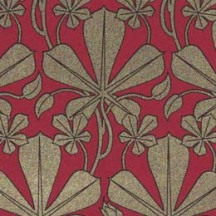 Dark Red and Golden Art Nouveau Leaves Italian Print Paper ~ Rossi Italy