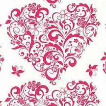Red Flower Hearts Italian Print Paper ~ Rossi Italy
