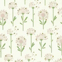 Petite Dandelions Floral Print Paper ~ Rossi Italy ~ Light Green Stems
