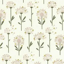 Petite Dandelions Floral Print Paper ~ Rossi Italy ~ Dark Olive Stems