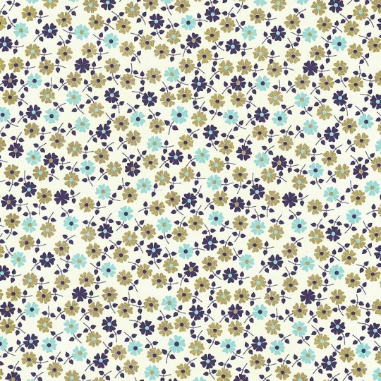 Petite Daisies Floral Print Paper ~ Rossi Italy ~ Blue + Gold Mix