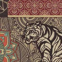Elaborate Golden Tiger and Mandala Print Paper ~ Rossi Italy