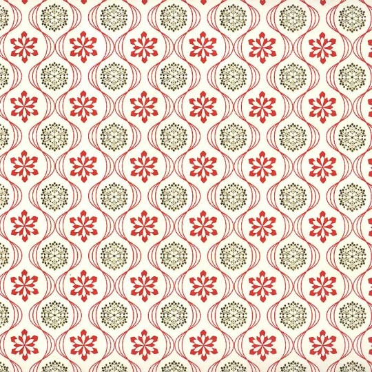 Red and Metallic Gold Snowflake Paper ~ Rossi Italy ~ Letterpress