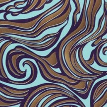 Light Blue and Gold Swirl ~ Rossi Italy ~ Letterpress