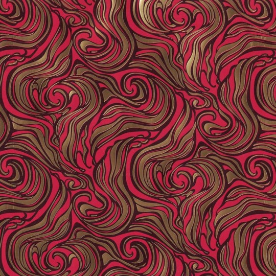 Red and Gold Swirl ~ Rossi Italy ~ Letterpress