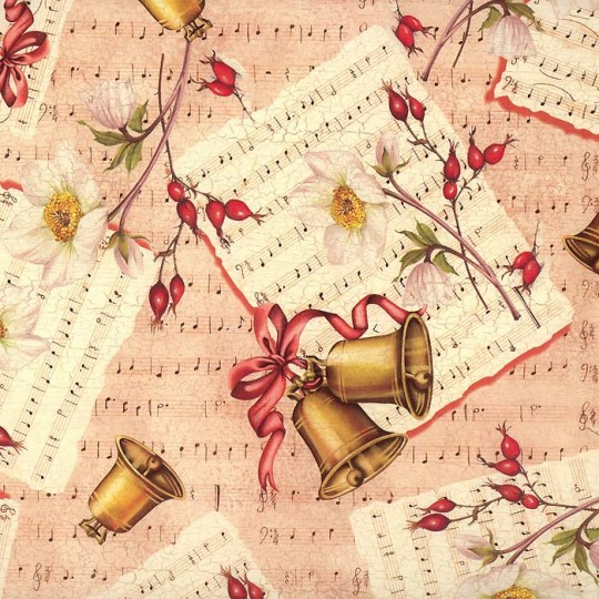 Bells & Music Holiday Print Paper ~ Tassotti Italy