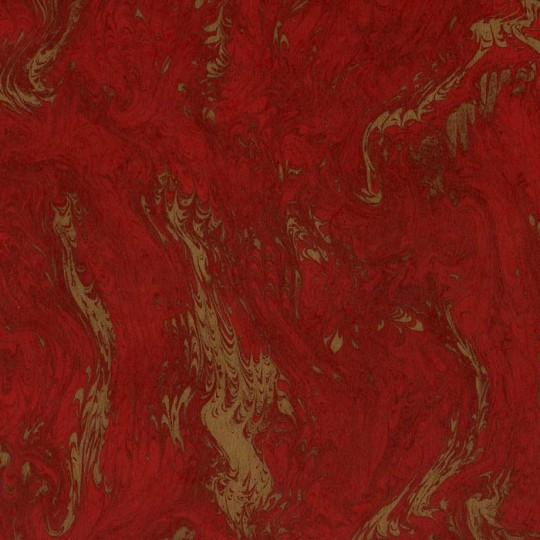 Brick Red & Gold Marbelized Print Italian Paper ~ Tassotti