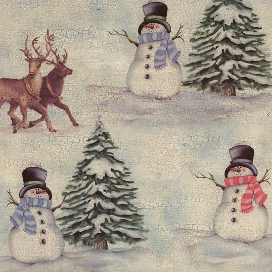 Snowmen and Reindeer Print Christmas Paper ~ Tassotti Italy