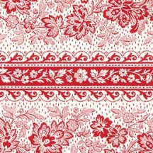 Red Floral Jacobean Stripes Italian Paper ~ Tassotti