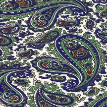Blue and Green Paisley Print Italian Paper ~ Tassotti