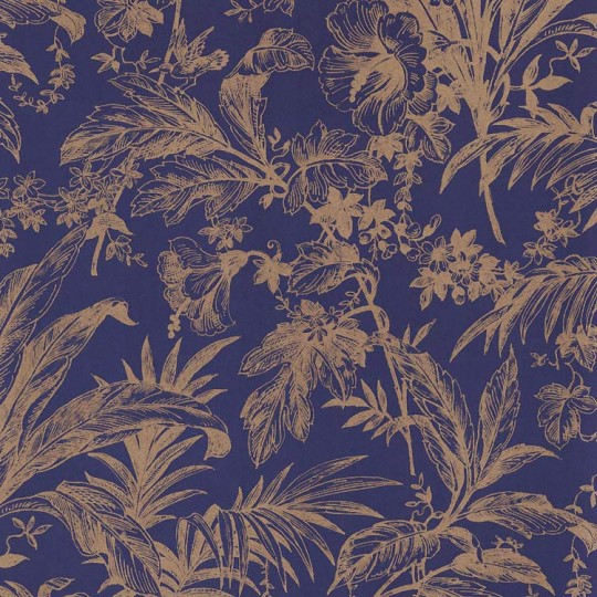 Dark Blue and Gold Toile Leaves Print Italian Paper ~ Tassotti