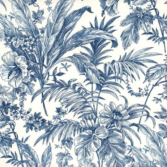 Blue Toile Leaves Print Italian Paper ~ Tassotti
