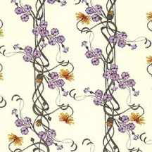 Purple Clematis Floral Print Paper ~ Tassotti Italy