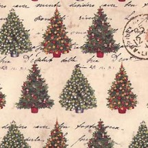 Christmas Trees & Stamps Holiday Print Paper ~ Tassotti