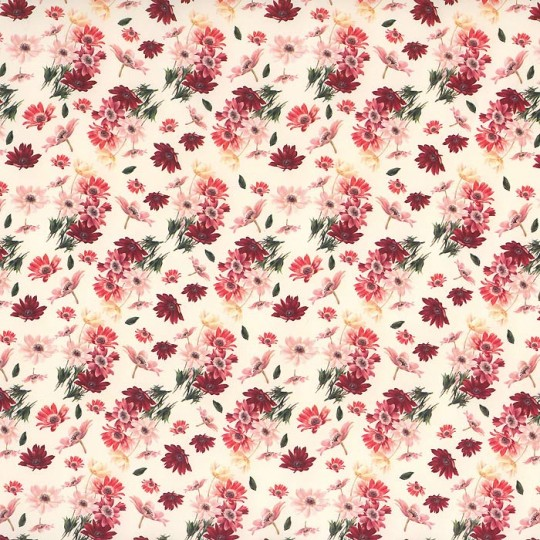 Petite Pink and Red Daisy Italian Paper ~ Tassotti