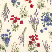 Petite Red and Blue Field Flowers Italian Paper ~ Tassotti