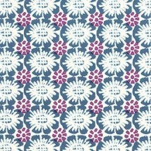Stamped Floral in Blue and Magenta Italian Paper ~ Tassotti