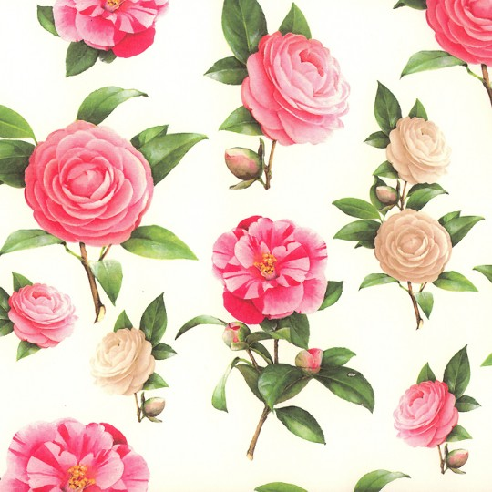 Mixed Camelias and Roses Italian Paper ~ Tassotti