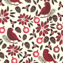 Petite Christmas Robin and Poinsettia Holiday Print Paper ~ Tassotti