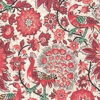 Red Florentine Flower and Peacock Print Italian Paper ~ Tassotti