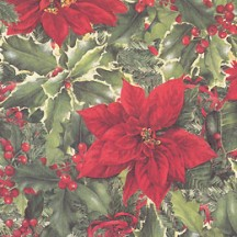 Poinsettia and Holly Berry Christmas Print Paper ~ Tassotti