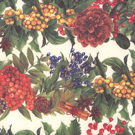 Large Pine Cone and Berry Borders Christmas Print Paper ~ Tassotti