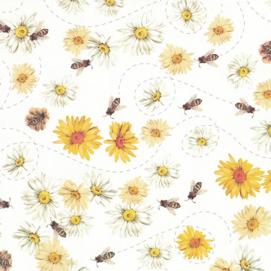 Bees and Daisies Floral Print Italian Paper ~ Tassotti