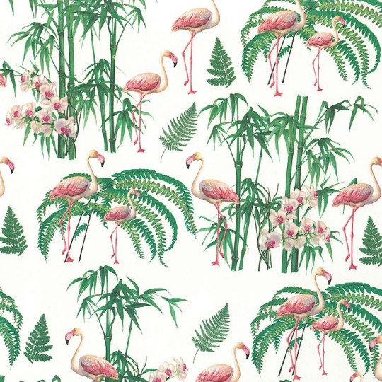 Flamingo and Floral Print Italian Paper ~ Tassotti