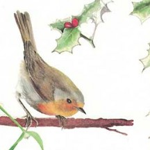 Christmas Greenery & Birds Holiday Print Paper ~ Tassotti