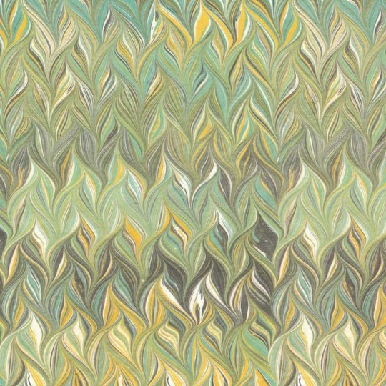 Green and Yellow Marbled Print Italian Paper ~ Tassotti