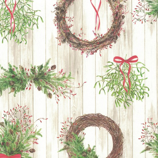 Christmas Wreaths and Boughs Holiday Print Paper ~ Tassotti Italy
