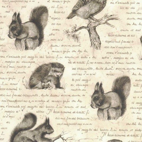 Italian Woodland Animals Holiday Print Paper ~ Tassotti Italy