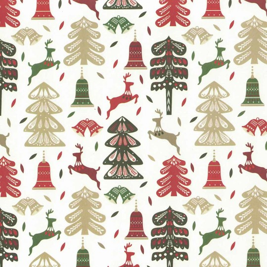Mixed Folkloric Trees and Deer Holiday Print Paper ~ Tassotti
