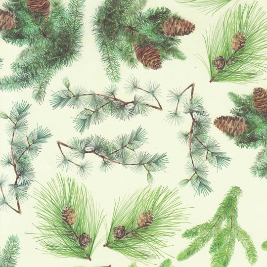 Christmas Pines and Greenery Holiday Print Paper ~ Tassotti