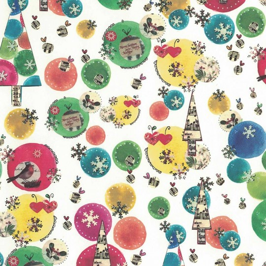 Mixed Multi-Color Trees and Collage Print Christmas Paper ~ Tassotti