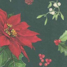 Mixed Poinsettias and Berries on Green Christmas Print Paper ~ Tassotti