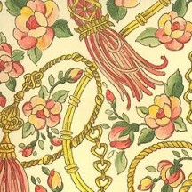 Pink and Green Tassels and Flowers Italian Paper ~ Carta Varese Italy