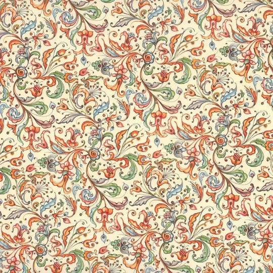 Stylized Floral Flourishes Italian Paper ~ Carta Varese Italy