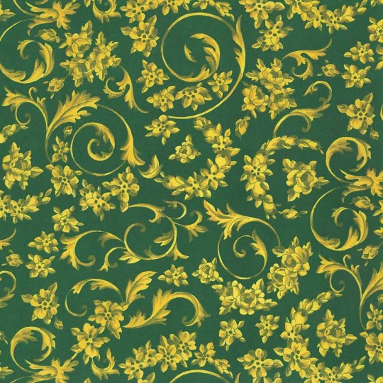 Green and Golden Flower Garlands Print Italian Paper