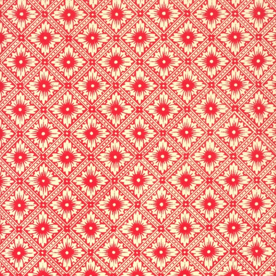 Red Star Flower Print Italian Paper ~ Carta Varese Italy