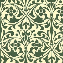 Green Stylized Flower Print Italian Paper ~ Carta Varese Italy