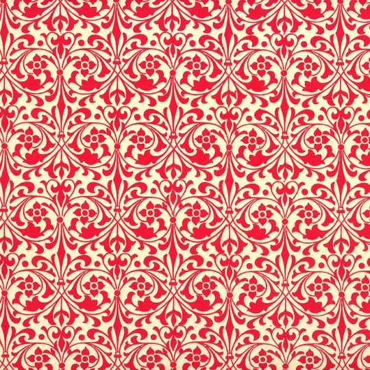 Red Stylized Flower Print Italian Paper ~ Carta Varese Italy