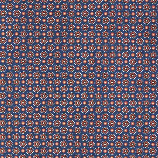 Blue and Orange Flower and Dot Print Italian Paper ~ Carta Varese Italy