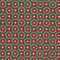Green and Red Flower and Dot Print Italian Paper ~ Carta Varese Italy